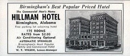 Hillman Hotel Birmingham AL Preferred by Business Men 1956 Travel Touris... - $10.99
