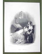 FRENCH LADY in Prison Bible Skull Crucifix - SUPERB Quality Print Engraving - $16.20