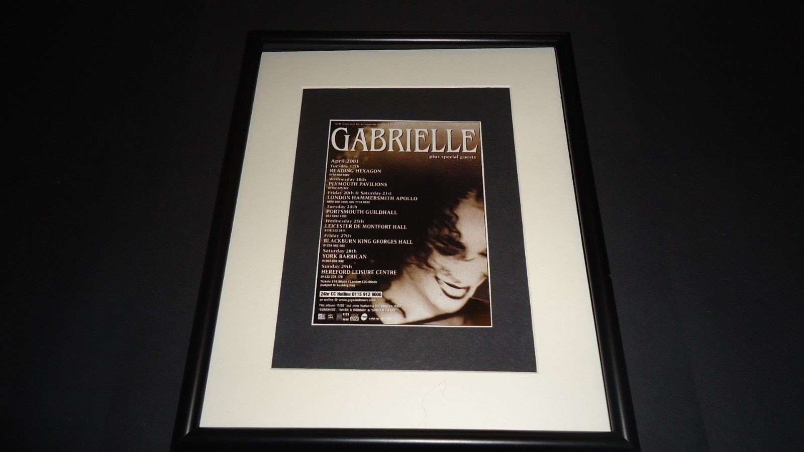 Primary image for Gabrielle-2001 UK Tour-original advert framed