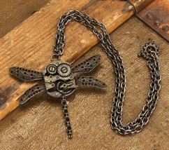 SteamPunk Cosplay Victorian Dragonfly Gears Metal Necklace, NEW UNUSED #... - $11.64