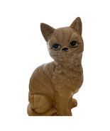"VINTAGE CERAMIC SITTING CAT FIGURINE JAPAN YELLOW SPOTTED BLACK EYES 7"" ... - $12.16"