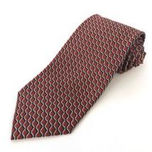 Ermenegildo Zegna Italy Mens Silk Tie Red Blue Geometric Square Checker  - $49.27