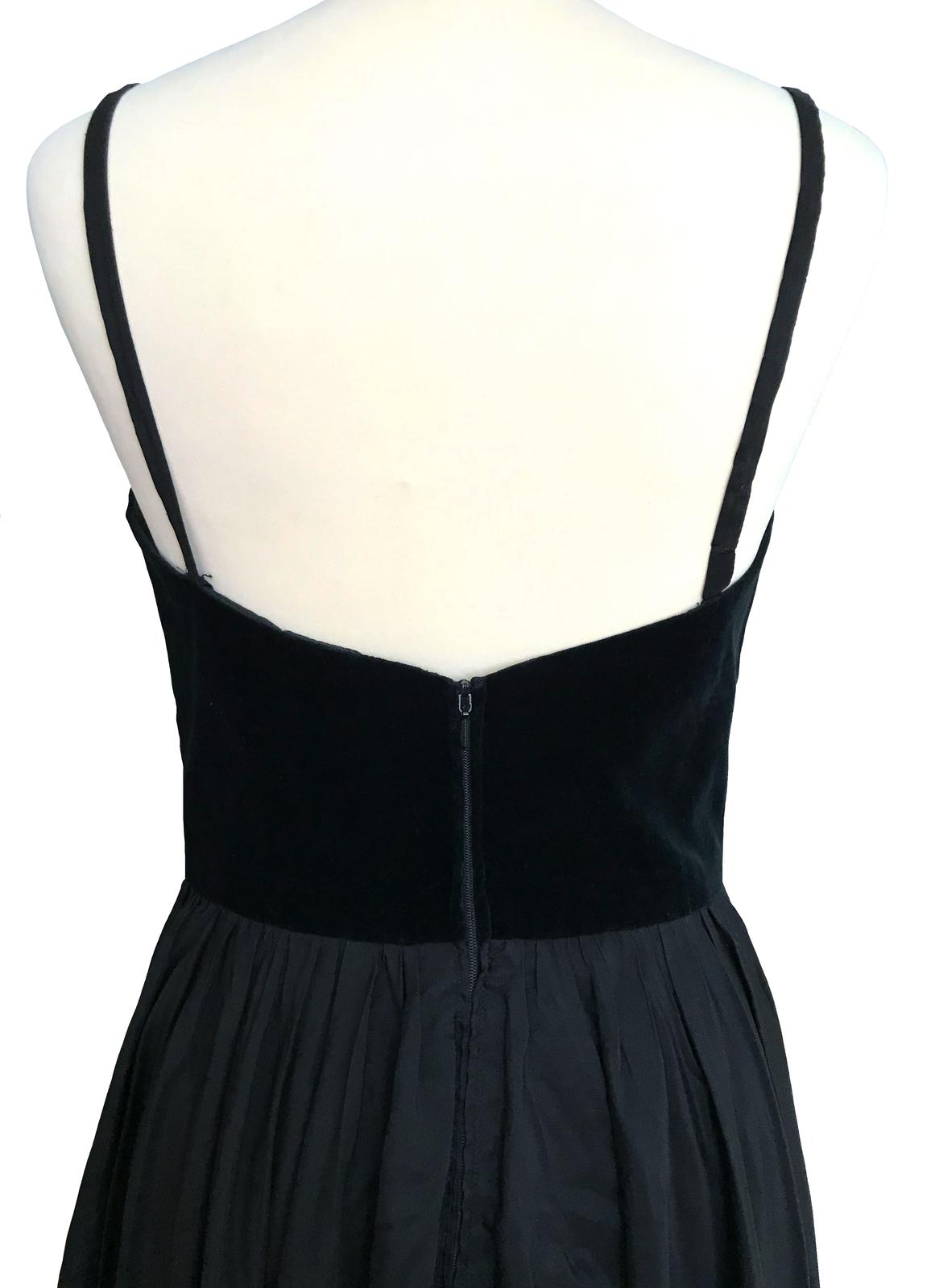 80s does 50s Vtg Vera Mont Black Velvet Bustier Full Swing Taffeta Pin Up Dress