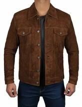 Men Logan Dark Brown Suede Leather Jacket Coat - $99.99