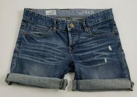 Gap 1969 Boyfriend Distressed Ripped Blue Denim Jean Shorts Womens Size ... - $12.86