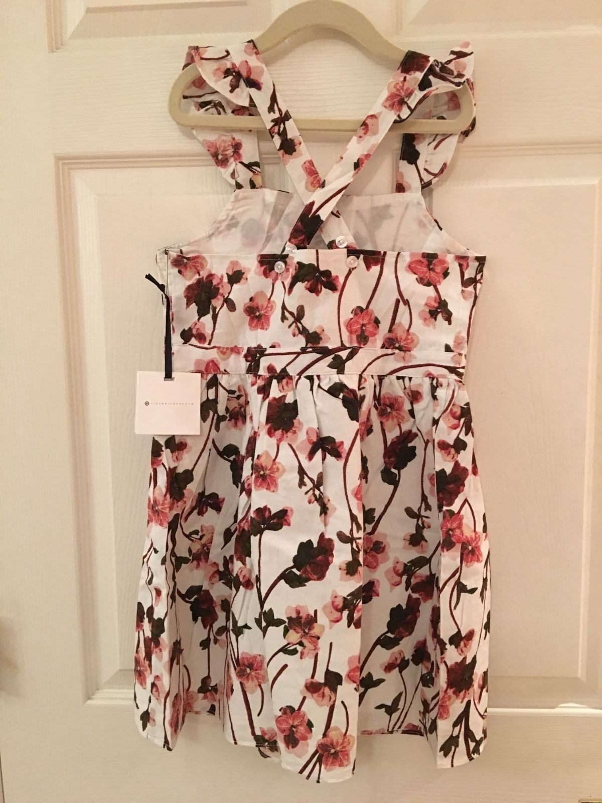 98bb392c9 Victoria Beckham for Target Girl White Ruffle Strap Pressed Floral Dress  Size M