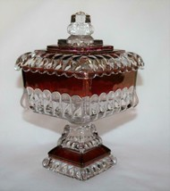 "Westmoreland Wedding Ruby Flash 7.5"" Compote Pedestal Candy Bowl & Lid  ... - $38.00"
