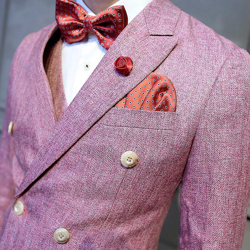 Latest Coat Pant Designs Double-Breasted Suit Man Dress Pink Suits 3 Pieces