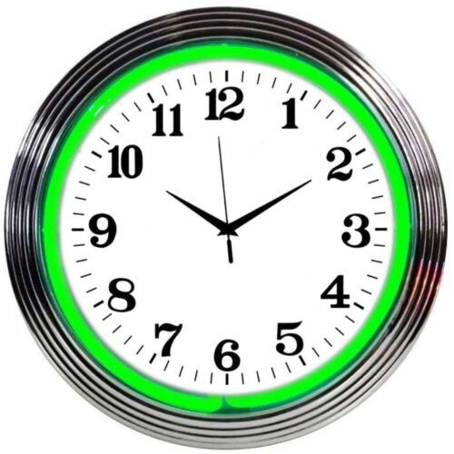 "Primary image for Chrome Green Standard Neon Clock 15""x15"""