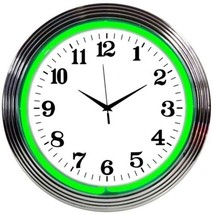 "Chrome Green Standard Neon Clock 15""x15"" - $59.00"