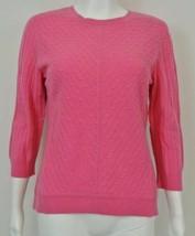 """CLASSIQUES ENTIER 100% Cashmere Cableknit Pink Sweater LP M 38"""" Bst - $29.99"""