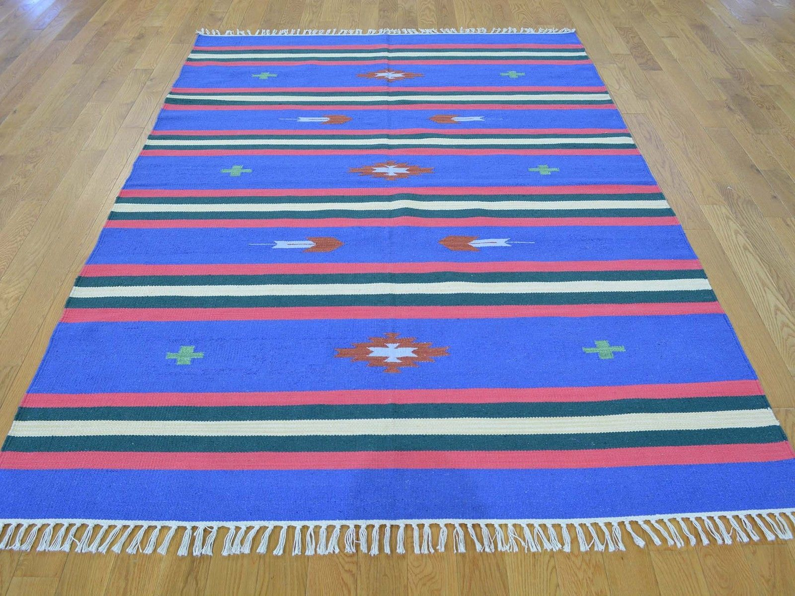 "5'x7'1"" Flat Weave Reversible Kilim Navajo Design Hand Woven Rug G26131"