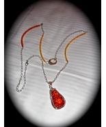 Fire Oval - An Amber Pendant and Amber Embellished Chain - $330.00