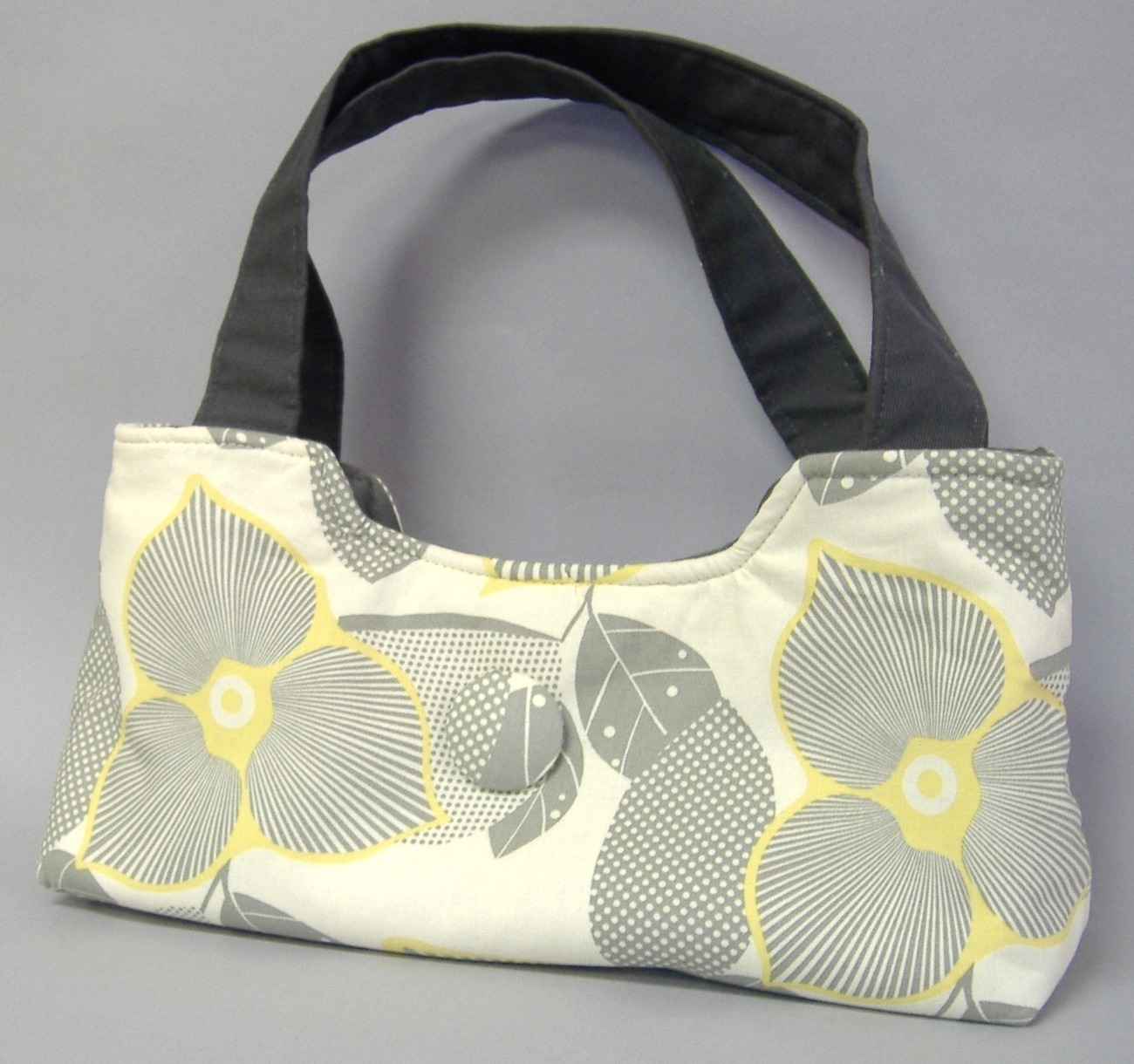 Morgan Floral Purse Chic Handbag Handcrafted Bag Tote Cotton Yellow Gray