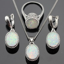 Australia White Opal Stones Silver Color Jewelry Sets For Women Necklace... - $23.59