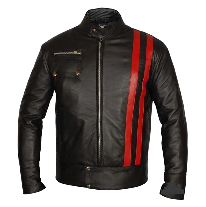 NWT XMen X Men Red Stripes Premium Genuine Pure Leather Jacket Costume image 1