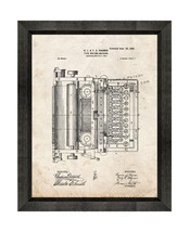 Typewriter Patent Print Old Look with Beveled Wood Frame - $24.95+