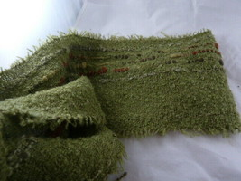Hand Woven Neck Scarf Acrylic wool and nylon green by Noelle Handcrafted - $11.13