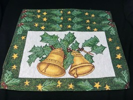 3 CHRISTMAS Gold Glitter Bells Table Placemats Green Jacquard Woven 19 x 12 - $35.99