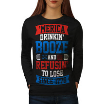 America Drinking Booze Tee USA Women Long Sleeve T-shirt - $14.99