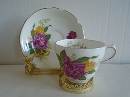 Vintage Regency Roses with Lily of the Valley Tea Cup & Saucer+Good Luck inside - $14.99