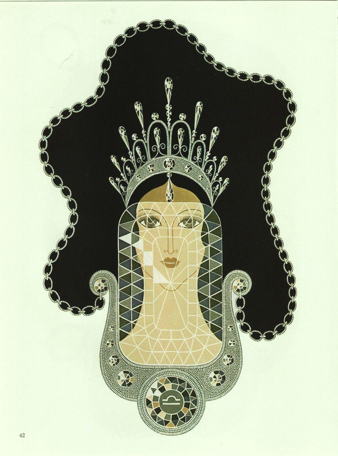 "Erte ""Diamond"" from the ""Precious Stones"" collection. Vintage 1978 Art Deco prin"