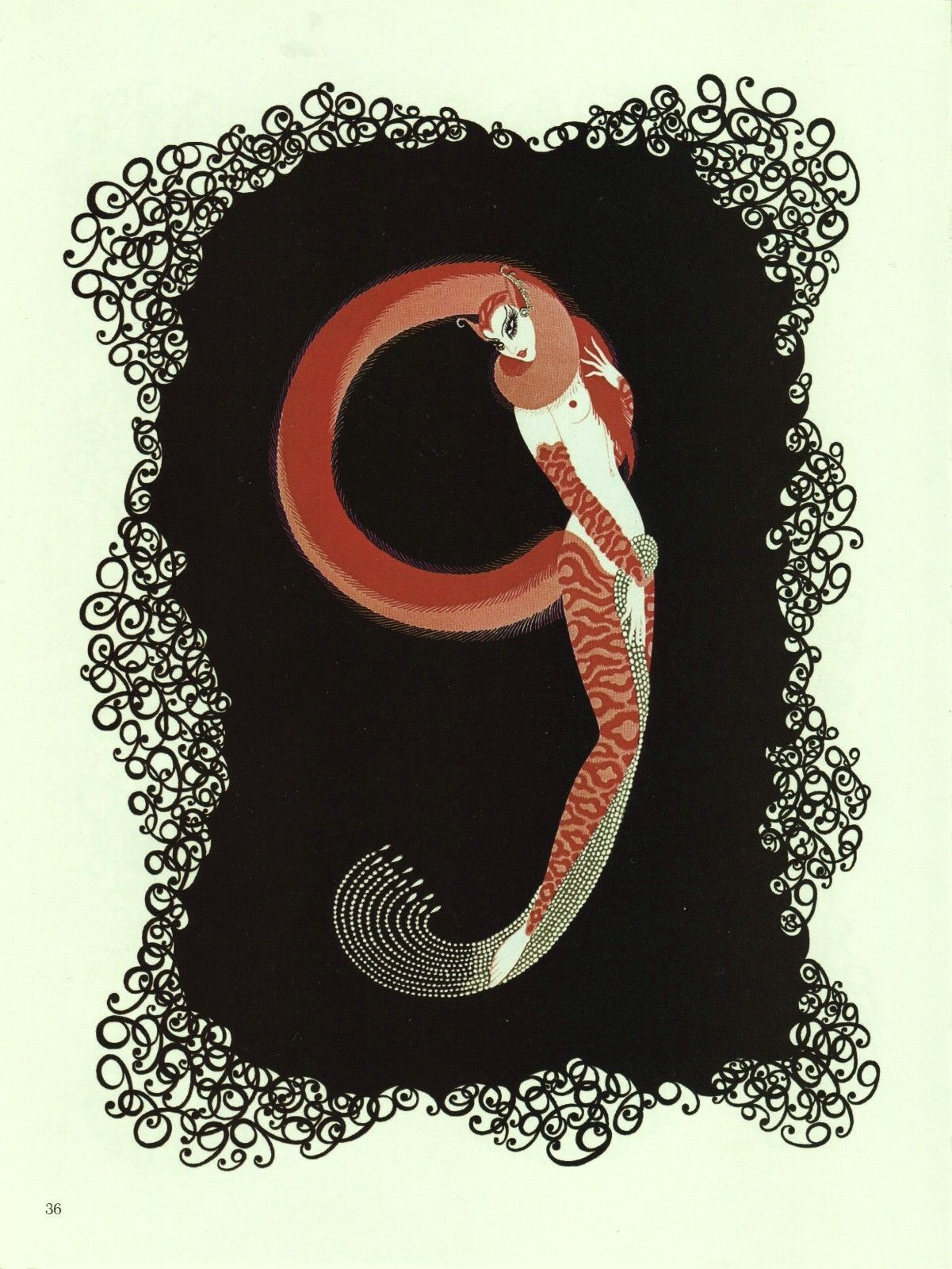 "Erte ""Nine"" Semi-Nude 9, ""The Numerals"" Collection Vintage 1978 Art Deco print"
