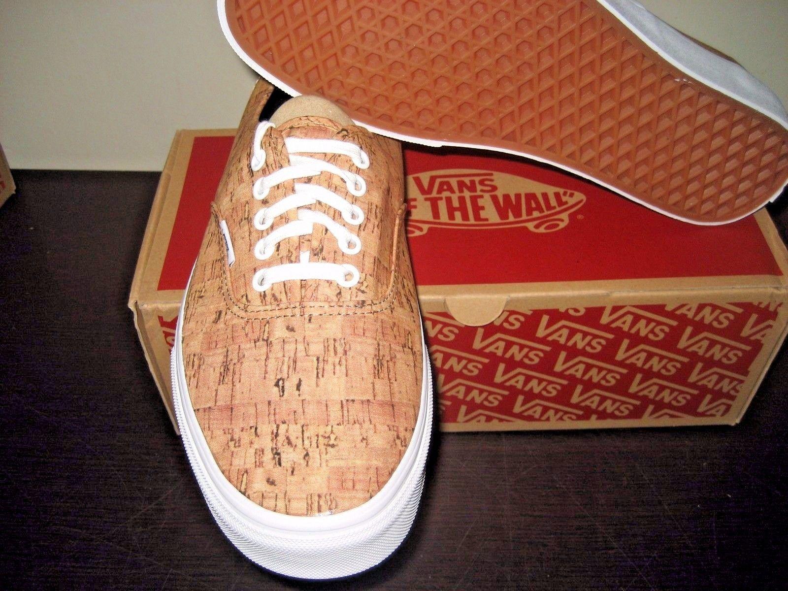 Vans Authentic Mens Cork Tan True White canvas Skate Boat shoes Size 11 NWT