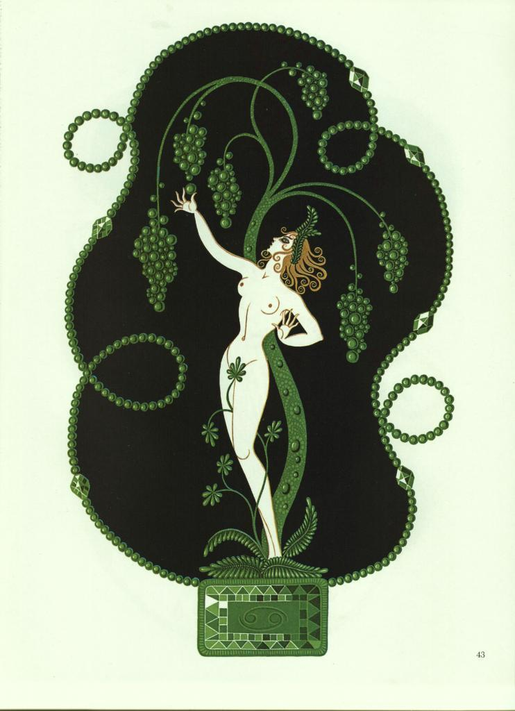"""Erte """"Emerald"""" from the """"Precious Stones"""" collection Vintage 1978 Art Deco print"""