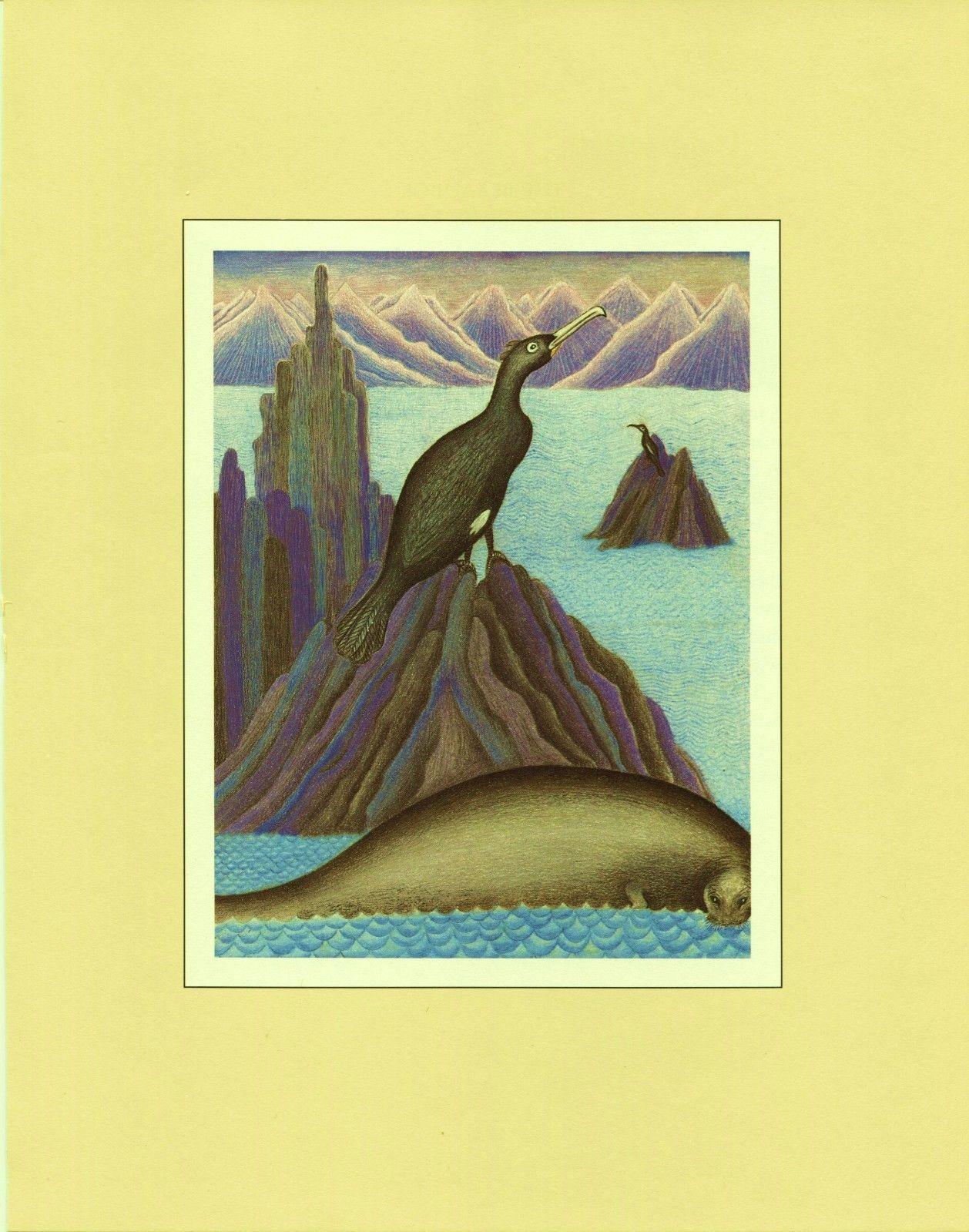 Steller's Sea-Cow, Spectacled Cormorant. Extinct Animals Vintage 1981 8X10 print