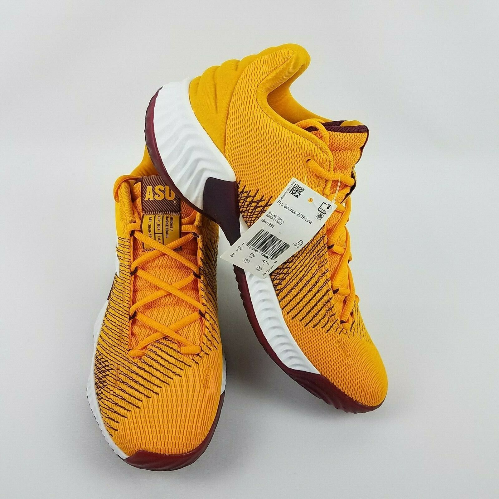 adidas Mens Pro Bounce 2018 Low ASU Basketball Shoe NCAA B41866 Size 9 image 2