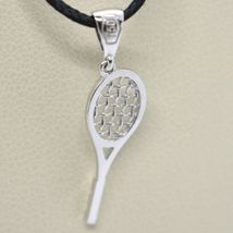 18K WHITE GOLD TENNIS RACKET PENDANT, CHARM, 20 mm, 0.8 inches, MADE IN ITALY image 3