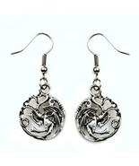 "Targaryen Dragon Earrings 1.7"" Game of Thrones Stainless Steel Wires Dro... - $6.95"