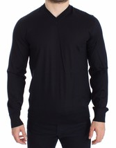 Dolce & Gabbana Blue Silk Cashmere V-neck Sweater Pullover 14034 - $269.55