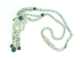 SAPPHIRE BLUE and CLEAR RHINESTONE Vintage Necklace with Dangles - GORGEOUS - $85.00