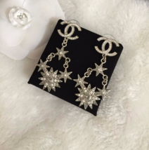 AUTHENTIC CHANEL 2015 CC LOGO STAR CRYSTAL DANGLE EARRINGS SILVER RARE image 2