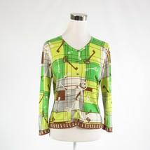 Ivory brown skeleton key 100% cotton CABI 3/4 sleeve cardigan sweater M - $24.99