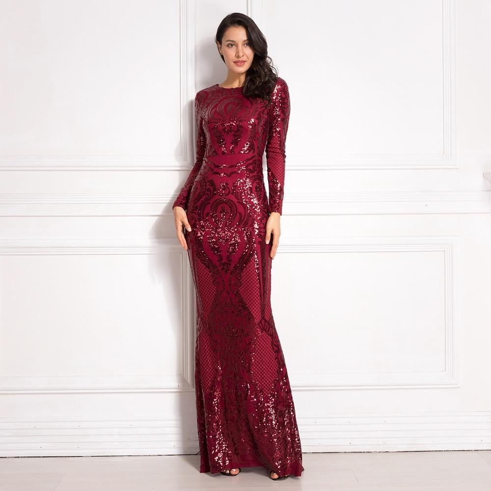 Y long sleeve sequined maxi dress bodycon o neck full length stretchy autumn winter long evening