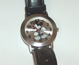 Mickey watch black leather band2 thumb200