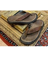 DR. DOC MARTENS AIR WAIR MEN 5 M 37 BROWN LEATHER THONG SANDAL FLIP FLOP... - $17.96