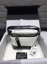 NWT AUTH Chanel 2019 BLACK White Quilted Leather Small Gabrielle Hobo Bag GHW image 1