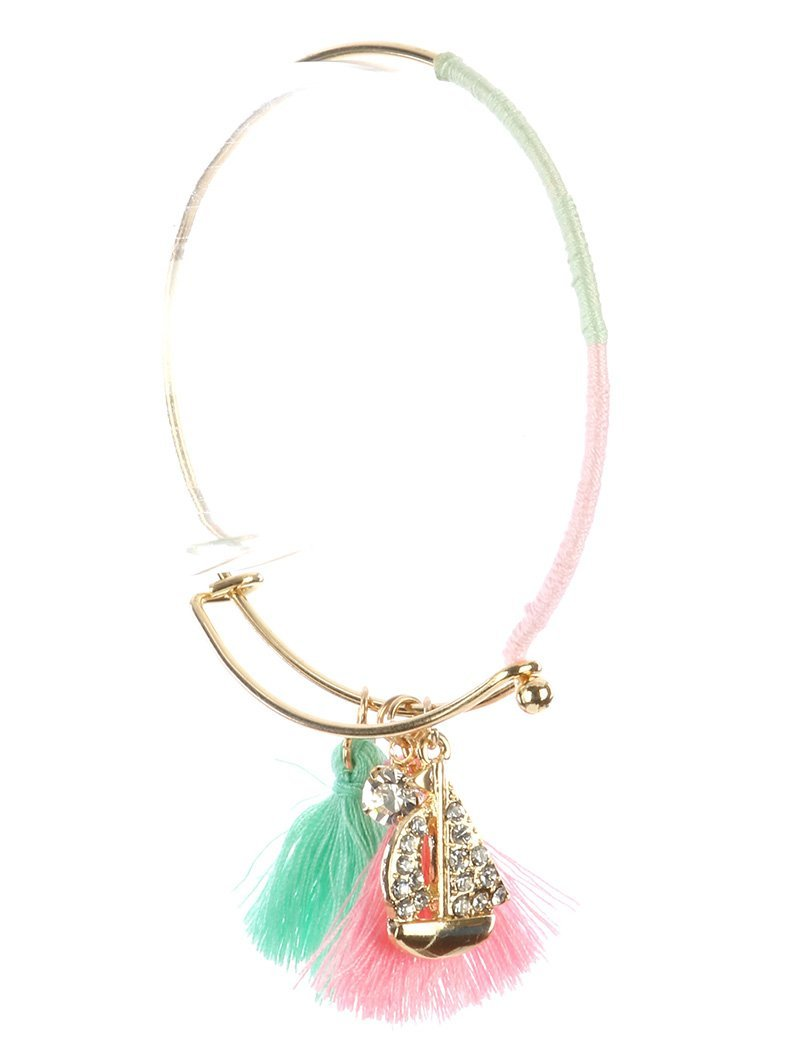 Nautical Charm Tassel GoldTone Bangle Bracelet (Boat)