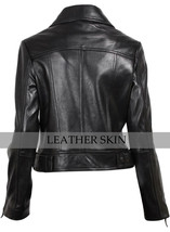 NWT Black Brando Women Ladies Trendy Premium Genuine Pure Real Leather Jacket image 2