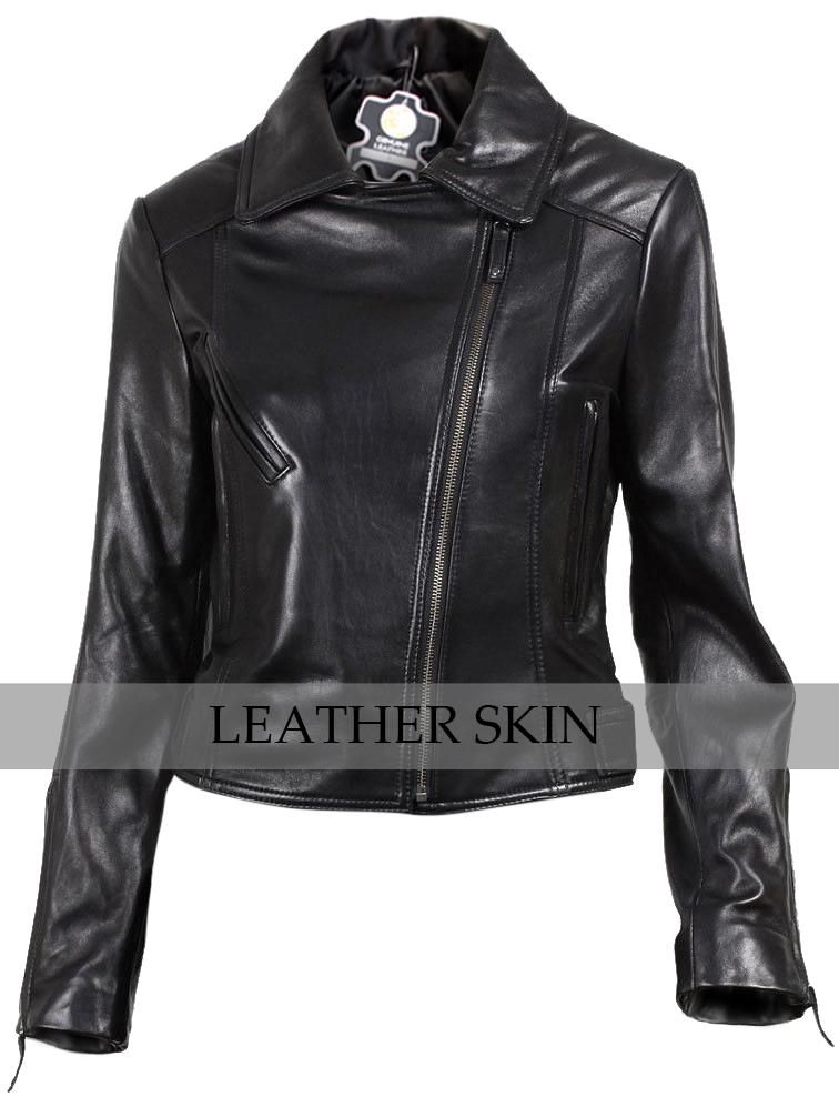 NWT Black Brando Women Ladies Trendy Premium Genuine Pure Real Leather Jacket