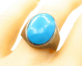 MEXICO 925 Silver - Vintage Large Oval Turquoise Cocktail Ring Sz 13 - R... - $47.22