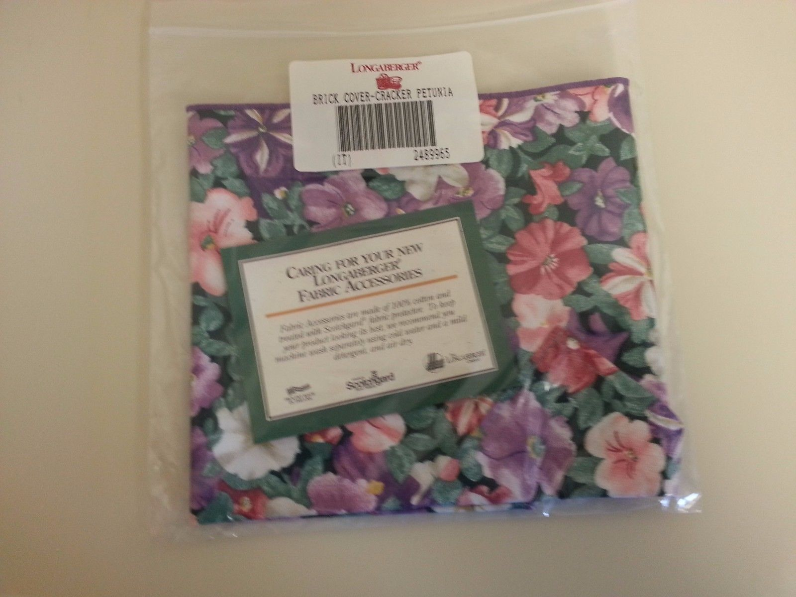 Primary image for Longaberger Cracker Brick Cover May Series Petunia Print Fabric New in Bag