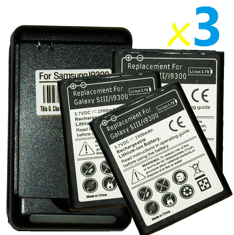 Primary image for 3 replacement Internal battery and Wall USB Charger for Samsung Galaxy s3 i9300