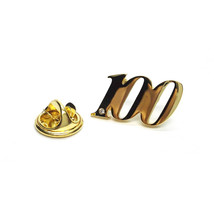 Gold Plated 100 Lapel Pin Badge with crystal . Lapel Pin, Badge, tie pin