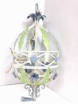 Vintage MC Italy Tole Floral Birdcage Metal Chandelier Shabby Country Co... - $143.50