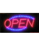 LED Neon Animated electric Red Blue oval open sign light for store busin... - $38.38